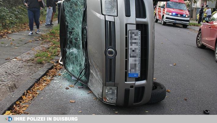 Unfall: Auf der Seite gelandet – drei Personen verletzt