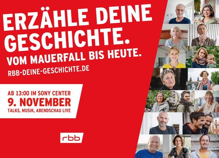 """""""Erzähle Deine Geschichte – vom Mauerfall bis heute"""": Start des großen rbb-Projekts am 9. November 2019"""