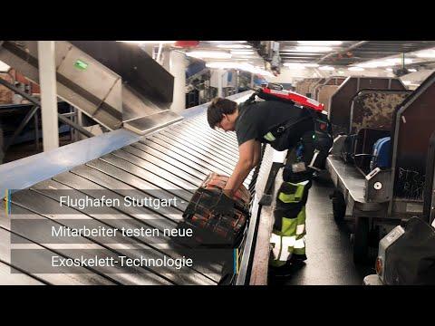 Flughafen Stuttgart – Mitarbeiter testen neue Exoskelett-Technologie