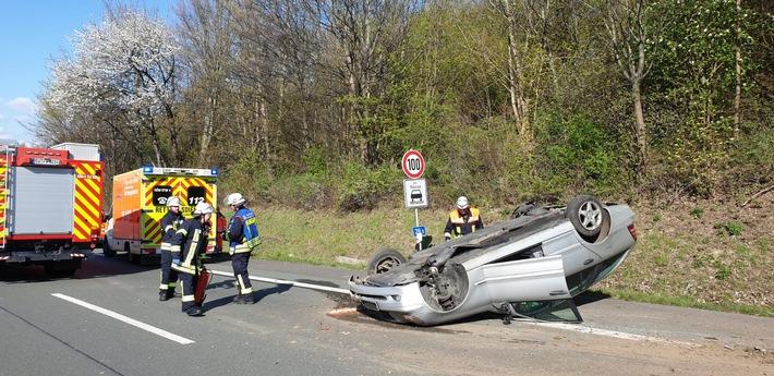 Königswinter: Alleinunfall eines PKW auf Autobahn mit vier verletzte Personen