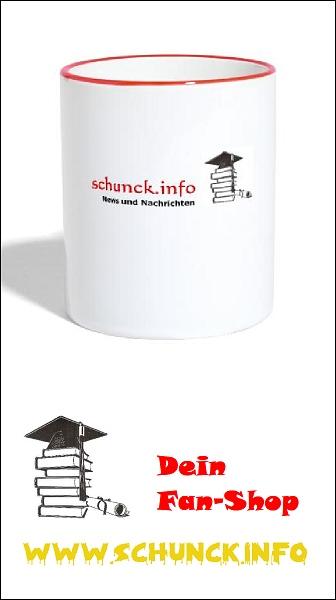 Fan-Shop: Becher weiß mit rotem Rand und Motiv
