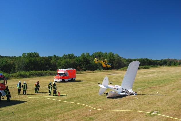 Iserlohn: Abgestürztes Ultraleichtflugzeug auf dem Flugplatz